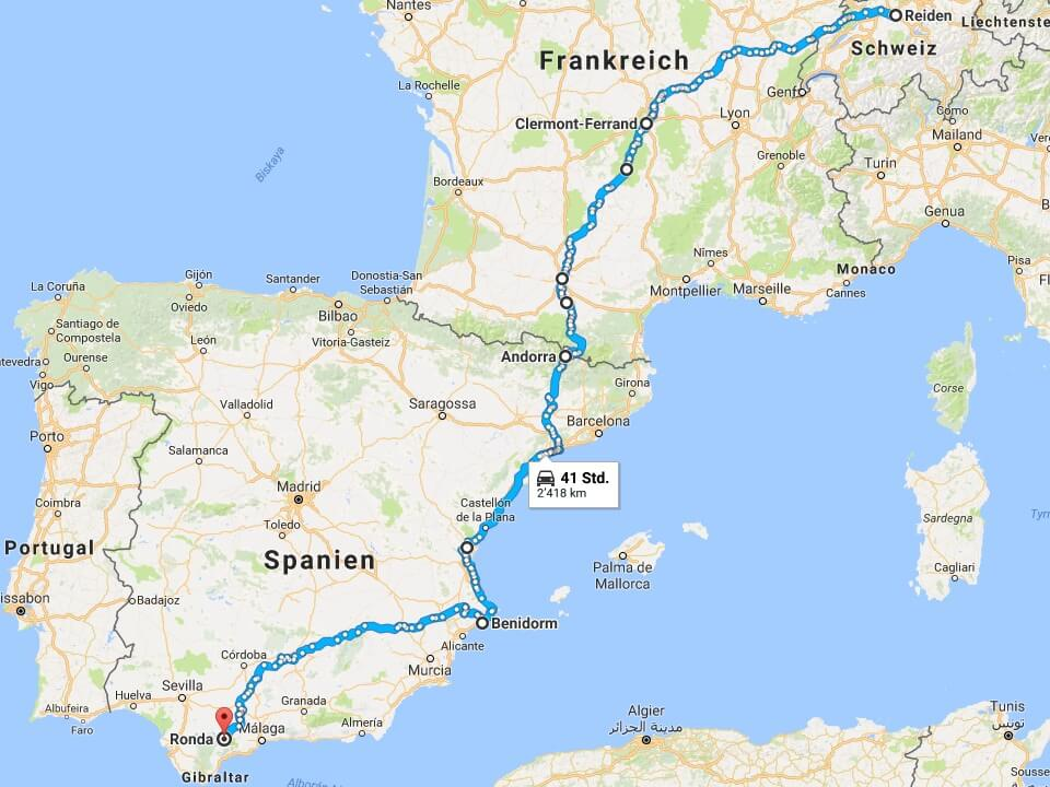 Mit der Harley nach Spanien - Der Unfall - Route